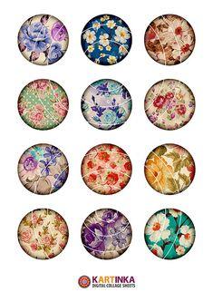 2 pulgadas para imprimir patrones de flores Collage hoja