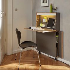 Muller Mobel Werkstatten made this innovative wall mounted desk the Flatmate. Available in shop.