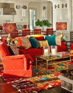 Home Design and Decor , Adorable Bohemian Home Decor : Living Room Bohemian Home Decor Area Rug And Cushions