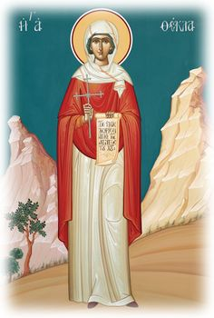 Full of Grace and Truth: St. Thekla the Protomartyr and Equal-to-the-Apostles Sign Of The Cross, The Cross Of Christ, Mary Magdalene And Jesus, Church Icon, Religious Paintings, Bride Of Christ, Byzantine Art, Orthodox Icons, Equality