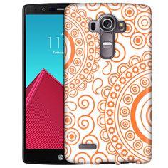 LG G4 Paisley Circles Orange on White Slim Case