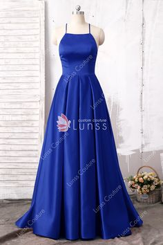 ed84b2c5b74 Royal Blue Spaghetti Strap Halter Floor Length Satin Red Carpet Prom Dress  with Crisscross Back