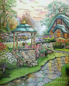 Coloring by Betty Hung - colorart.ca | Make a Wish cottage from the Thomas Kinkade coloring book