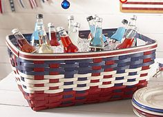 Hard Working Basket--for holding drinks, laundry, blankets, shoes.  Mine is still going strong after 12 years!  Americana Weave, Red, Black, 2 Brown Options #longaberger small laundry basket