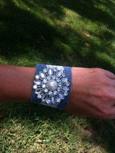 Denim Jeweled Bracelet by Krazy4Kamo on Etsy, $8.00
