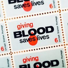 10 Giving Blood Saves Lives Stamps  Vintage Unused by UnicornPost