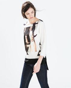 フォトプリントTシャツ-長袖-Tシャツ-WOMAN   ZARA 日本