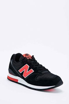 New Balance 996 Runner Trainers in Black and Coral