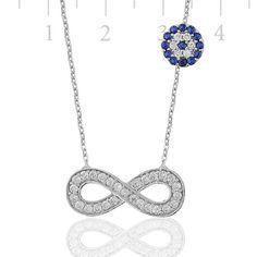 Evil Eye Necklace, Infinity Necklace  925 Sterling Silver Filled ,CZ stones by Evil Eye Gems (Evil Eye Jewelry)