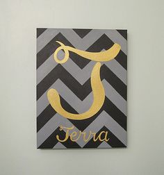 Any Color Chevron Initial and Name Canvas Art by SnowFlowerArts
