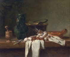 Still Life with Pestle and Mortar, Pitcher and copper Cauldron - Chardin Museo Thyssen
