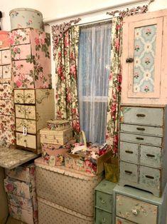 My Studio Redo (part one- wallpaper heaven) Sewing Closet, Sewing Room Storage, Craft Room Storage, Room Organization, Craft Rooms, Vintage Craft Room, Vintage Sewing Rooms, Vintage Crafts, Shabby Chic Cottage