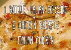 "You've never made <a href=""http://allrecipes.com/Recipe/Easy-Italian-Chicken-II/Detail.aspx"" target=""_blank"">an easier dinner</a> for your family."