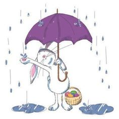 Easter Bunny in the Rain by Christine Tripp
