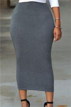 High Waist Bodycon Midi Skirt Hip Pencil Skirts