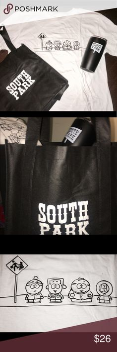 South Park SEASON 15 - MENS L T-SHIRT and Swag Bag SOUTH PARK SWAG BAG  Celebrating the kick off of SEASON 21  These limited edition South Park Season 21 promo sets were sent directly to lucky fans on Sept 13, 2017  Contains : SOUTH PARK WHITE COTTON TSHIRT- MEN'S LARGE 	• SOUTH PARK BLACK SHOPPING BAG 	• SOUTH PARK 16oz Tumbler COLLECTORS ITEMS / PROMOTIONAL SET / FAN PRIZES SOUTH PARK Shirts Tees - Short Sleeve
