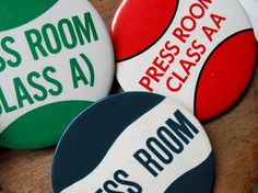 Vintage Press Room Pins Pinbacks Buttons Badges by HilltopTimes