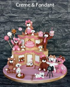 Happy Birthday Party Cake - cake by Creme & Fondant