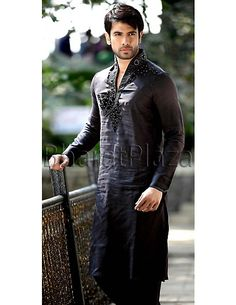 Black Linen Pathani Suit