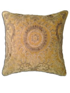 the buttah pillow by String Theory, in a warm shade of golden yellow, is as soft and smooth as its namesake. embroidered with velvety soft viscose in contrasting shades of tan + light brown,this pillow will add the charm of vintage textiles to any room in your home.