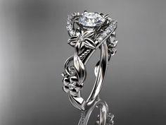 "14k white gold flower diamond unique engagement ring with a ""Forever Brilliant"" Moissanite center stone ADLR211"