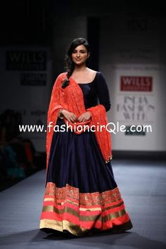 Parineeti Chopra from Manish Malhotra show Love this one! Blue & red royal!