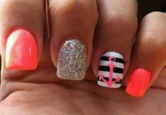 """I love nails and nail designs. The are many different ways to """"do"""" or paint your nails and you can become very creative. Love Nails, How To Do Nails, Fun Nails, Pretty Nails, Purple Nail, Coral Nails, Ombre Nail, Sparkly Nails, Orange Nails"""