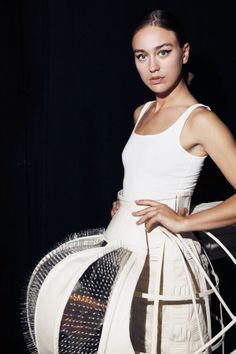 Cage Skirt with transparent panels and spikes layered over pleated and woven fabric - 3D fashion; shape & structure; wearable art