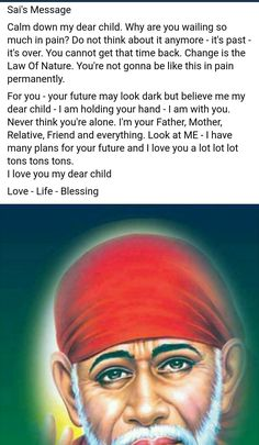 OM SAI RAM Love my child Aaradhana my mother father like you love and protect your ardrnt devotee om sai ram Sai Baba Pictures, God Pictures, Love You A Lot, Love My Kids, Sai Baba Miracles, Indian Spirituality, Telugu Inspirational Quotes, Sai Baba Quotes, Sathya Sai Baba