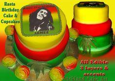Bob Marley Birthday, Girl Birthday, Birthday Ideas, Rasta Cake, Bob Marley Cakes, Rasta Party, Party Food Games, Birthday Cake For Boyfriend, Cupcake Birthday Cake