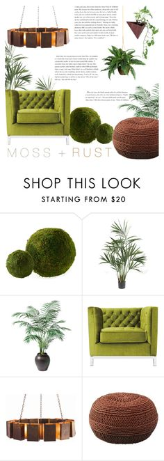 """""""Moss & Rust - Color Challenge"""" by rachaelselina ❤ liked on Polyvore featuring interior, interiors, interior design, home, home decor, interior decorating, Dot & Bo, Nearly Natural, Ethan Allen and Arteriors"""
