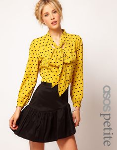Mustard yellow is the color of the season. This dainty @asos.com blouse is great for work or weekend.   #yellow #hearts #blouse