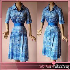 Vintage 1970s Dagger Collar Shirtwaist Geometric Op Art Dress #vintage #mod  http://www.ebay.co.uk/itm/Vintage-1970s-Dagger-Collar-Shirtwaist-Geometric-Op-Art-Dress-Matching-Belt-UK14-/371588655897?ssPageName=STRK:MESE:IT