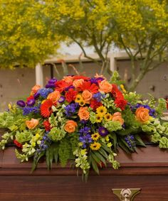 Colorful flowers expressing sympathy for local memorial and funeral delivery in Tucson and Oro Valley AZ from your trusted Tucson Florist - Casas Adobes Flower Shop Funeral Floral Arrangements, Unique Flower Arrangements, Sunflower Arrangements, Remembrance Flowers, Memorial Flowers, Casket Flowers, Funeral Flowers, Funeral Caskets, Funeral Sprays