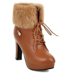 Faux Fur Chunky Heel Lace-Up Short Boots