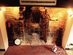 So this is our house, the fire place was all bricked up apart from a tiny opening, you can just see the remains of the old fire( the little flat bit is concrete in the middle, so all the brickwork you can see was hidden, we removed 50 bags of rubble and found this older fire place.
