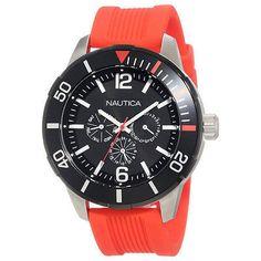 Nautica Men's Watch Round Black Dial Orange Red Silicone Strap Day Date N14626G