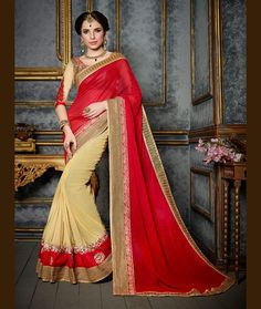 Red Faux Chiffon Half and Half Saree With Blouse 68193