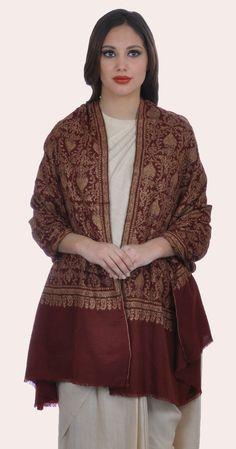 Maroon Sozni Hand Embroidered Jamawar Pure Pashmina Shawl