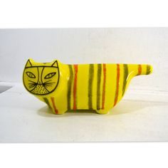 Vintage Mid-Century Baldelli Cat Bank // Vintage Yellow Ceramic Cat Bank w/ Orange & Green Stripes