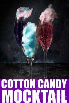 Unicorn Cotton Candy Mocktail Looking for an amazing Unicorn drink? Then you are going to LOVE this Unicorn Cotton Candy Mocktail! Mocktail Drinks, Alcholic Drinks, Non Alcoholic Drinks, Cocktails, Cotton Candy Drinks, Cotton Candy Cocktail, Cotton Candy Champagne, Party Food And Drinks, Fun Drinks
