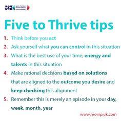 Five to thrive tips #iloverecruitment www.iloverecruitment.wordpress.com
