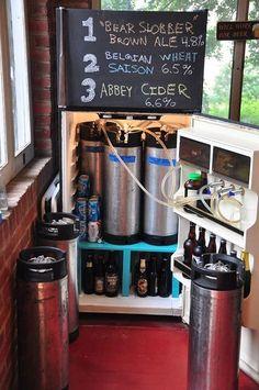 Homebrewing garage The ultimate homebrew kegorator. Love the built in shelves for beer underneath Nano Brewery, Home Brewery, Home Brewing Beer, Brewing Equipment, Beer Recipes, Homebrew Recipes, Coffee Recipes, Brew Pub, How To Make Beer
