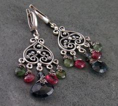 Watermelon tourmaline chandelier earrings by envydesignsjewelry