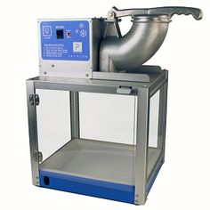 """Paragon Simply-A-Blast Commercial Style Snow Cone Machine - can shave 500 lbs. of cube or chunk ice per hour. Tempered glass panels, safety switch, removable drain deck and 36"""" drain tube."""