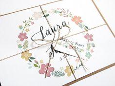 Harmony  Pretty Flower Wreath Wedding Invitation by STNstationery