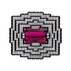 25 Carat Rubellite Brooch with diamonds and black lacquer - from Cartier High Jewellery