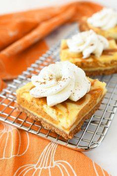 Easy Pumpkin Swirl Cheesecake Bars Pumpkin Sheet Cake, Pumpkin Coffee Cakes, Pumpkin Chocolate Chip Bread, Pumpkin Waffles, Baked Pumpkin, Pumpkin Dessert, Pumpkin Recipes, Fall Recipes, Spiced Pumpkin