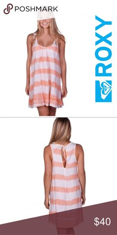 Roxy Tank Dress 👗 Tie-dyed design and Embroidered border along the hem. Back keyhole with tie detail. Its very lightweight and looks good with sandals. Perfect for a beach day or a Sunday Brunch!! Roxy Dresses