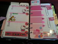 My week 5 (Jan.27-Feb.2,2014) added embellishments (Hello Kitty). Left side: Hello Kitty stickers, Hello Kitty borders, hole reinforcements colored red, pink & green highlighters. Right side: week marker (pink paint chip)& washi tape paper clips (2).